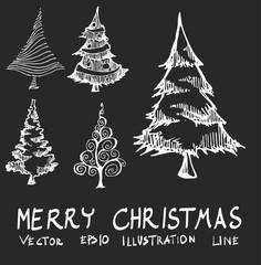 Set of Doodle sketch christmas tree Hand drawn Sketch line vector illustration eps10