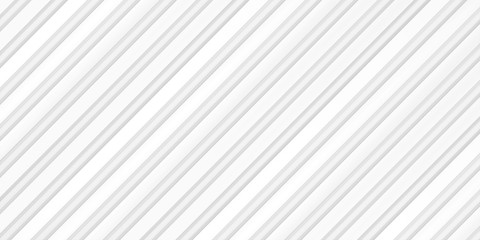 Volume realistic embossing texture, iron fence, inclined strips, white 3d geometric pattern, design vector light background