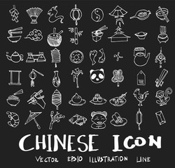 set of object related to Chinese doodle style on chalkboard eps10