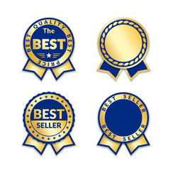 Ribbon awards best seller label set. Gold ribbon award icons isolated white background. Best quality golden design for badge, medal, best price, certificate guarantee product Vector illustration