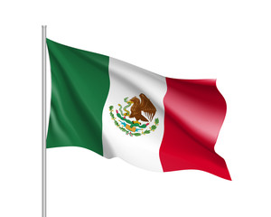Waving flag of Mexico. Illustration of North America country flag on flagpole. 3d vector icon isolated on white background