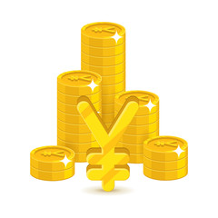 Bunch gold Chinese yuan or Japanese yen isolated cartoon. Bunches of gold yuan or yen and yuan or yen signs for designers and illustrators. Gold stacks of pieces in the form of a vector illustration