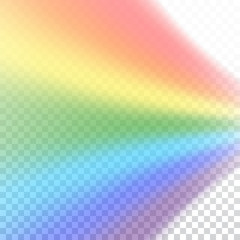 Rainbow icon. Shape rainbow realistic isolated on white transparent background. Colorful light and bright design element. Symbol of rain, sky, clear, nature. Graphic object Vector illustration