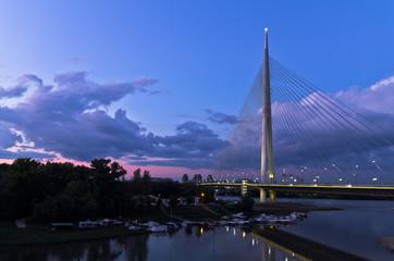 Cable bridge at twilight over Sava river near Ada island, Belgrade, Serbia
