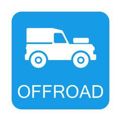 Icono plano OFFROAD con Land Rover en cuadrado azul