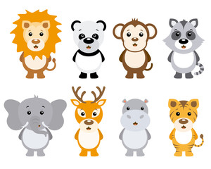 Set of cute animals isolated on white background