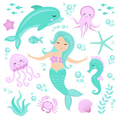 Cute set Little mermaid and underwater world. Fairytale princess mermaid and dolphin, octopus, seahorse, fish, jellyfish. Under water in the sea mythical marine collection