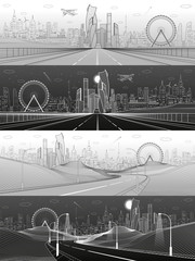 Wall Mural - City infrastructure illustration set. Wide highway. Future town skyline on background. Modern architecture, skyscrapers, ferris wheel, plane fly. White and gray lines, urban scene. Vector design art