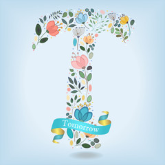Floral Letter T with blue ribbon