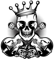 Pattern with guitar, skull, crown for concert advertisement. The vector illustration