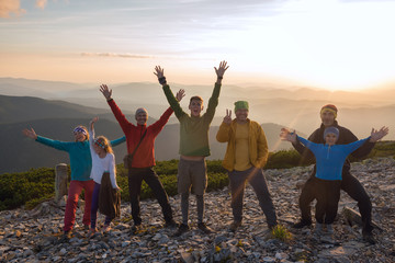 Joyful friends during a travel in mountains