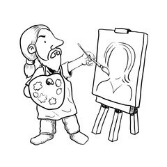 Hand drawn Cartoon Artist painter-Vector Illustration