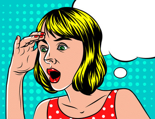 A Girl  in shocked emotion. Woman holds a hand on her head. The girl  in surprise. Speech bubble over background of pop art style