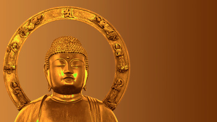 An image of Japanese style golden Buddha. Isolated on orange background with clipping path.
