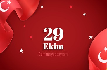 29 ekim Cumhuriyet Bayrami, Republic Day Turkey. 29 october Republic Day Turkey and the National Day in Turkey.Celebration banner  with curving ribbons and text. Vector illustration