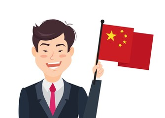 Chinese man holding  national flag. Vector flat illustration