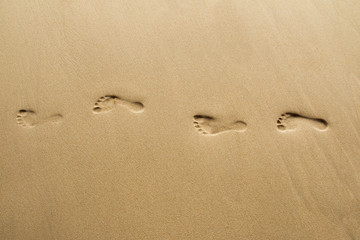 Footprints on beach.