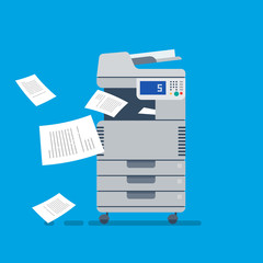 Office Multifunctional printer scanner. Flat Vector