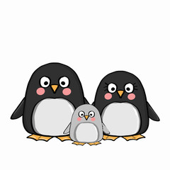 cute penguins family