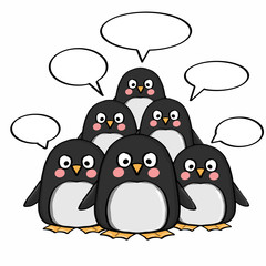 cute penguins and  thinking