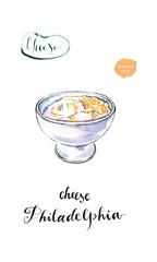 Watercolor cream cheese Philadelphia
