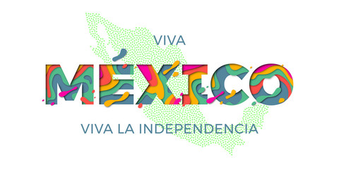 Viva Mexico lettering Independence day Mexican vector national symbol flag map color