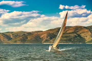 Foto auf Gartenposter Segeln sailing boat croatian coast