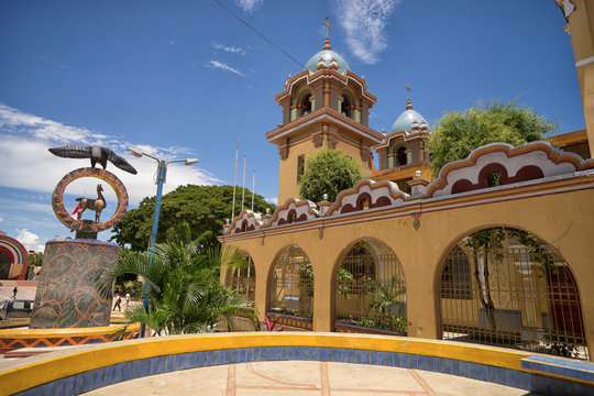 church in the centre of the tropical town of Tumbes Peru known for the finest beaches of the country