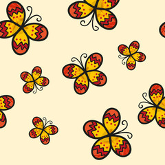 Yellow Butterfly on Ivory Beige Background