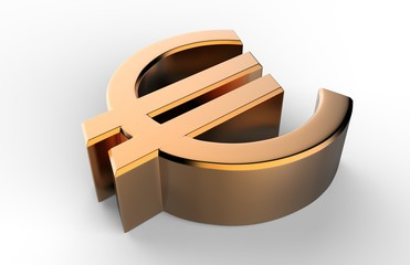 3d Sign and symbol of euro on white isolated background. 3d render illustration.