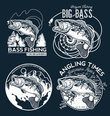 Bass Fishing emblem on black background. Vector illustration.
