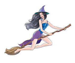 Sexual witch flies on a broomstick. Girl in a Christmas Spellbound Witch Costume, sign Happy Halloween party, All Saints' Eve. Sorceress for the banners design, cards, posters. Isolated vector