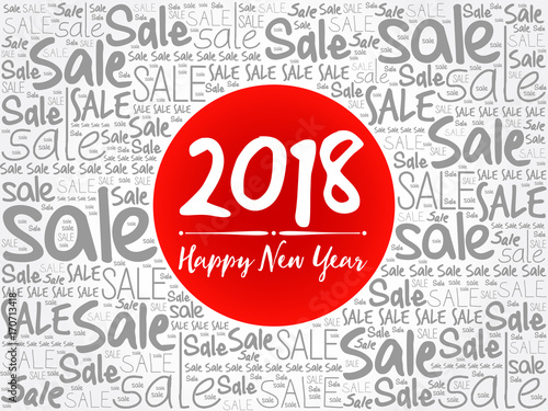 2018 Happy New Year. Sale Christmas background word cloud ...