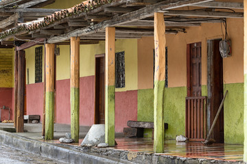 March 15,2017 Vilcabamba, Ecuador: rustic colonial style architecture in the popular expat destination town