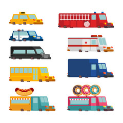 Car cartoon set. Fire engine and police car. ambulance and taxi. Fast food truck. vector illustration