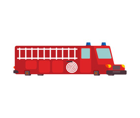 Fire engine car cartoon style. Big red car vector illustration