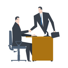 Online business. Web agreement. Handshake of businessmen. Boss from PC. Vector illustration