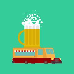 Beer car food truck. alcohol Fast food car. Vector illustration