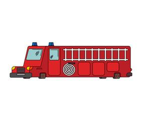 Fire engine car cartoon style. Big red car vector illustration