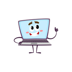 vector flat cartoon funny laptop humanized male character with arms, legs and face showing thumbs up smiling . Isolated illustration on a white background.