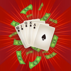 vector flat cartoon Royal Flush in spades poker cards, rain of dollar cash money around. Illustration on a red background. Sign of profit, easy money. Casino, gambling games design poster