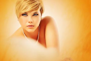 beautiful woman with bead chain