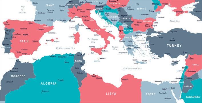 Mediterranean sea Map - Vector Illustration