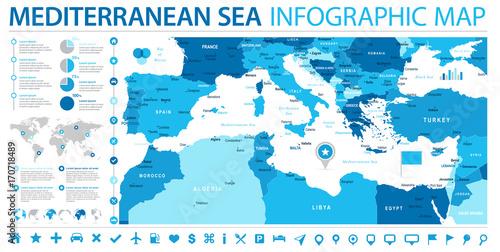 Mediterranean sea Map - Info Graphic Vector Illustration ...
