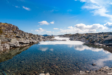 Panorama of summer landscape in Norway - river, stones, mountings
