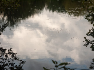 water surface top with ripples and white clouds reflected