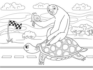 Long Journey, speed. Three friends went on a long trip. Sloth and snail riding a turtle.