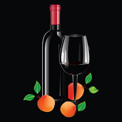 Realistic bottle of wine with a red stopper, glass, apricots, peaches - isolated on a black background - art creative modern vector illustration. Still life..