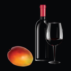 Realistic bottle of wine with a red stopper, glass, mango - isolated on black background - art creative modern vector illustration. Still life.