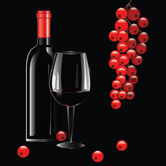 Realistic bottle of wine with a red stopper, glass, branch of currant - isolated on black background - art creative modern vector illustration. Still life.